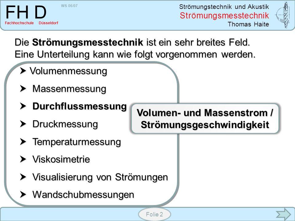 Volumen- und Massenstrom / Strömungsgeschwindigkeit