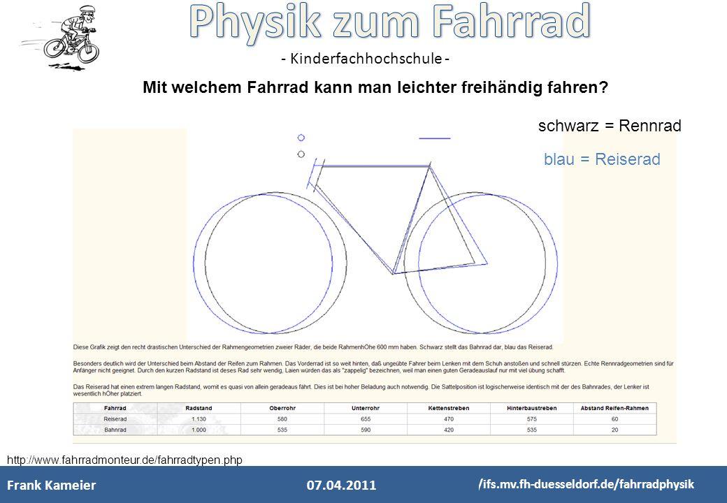 Mit welchem Fahrrad kann man leichter freihändig fahren