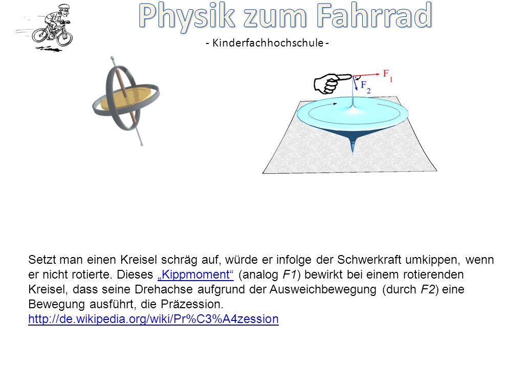 """Setzt man einen Kreisel schräg auf, würde er infolge der Schwerkraft umkippen, wenn er nicht rotierte. Dieses """"Kippmoment (analog F1) bewirkt bei einem rotierenden Kreisel, dass seine Drehachse aufgrund der Ausweichbewegung (durch F2) eine Bewegung ausführt, die Präzession."""