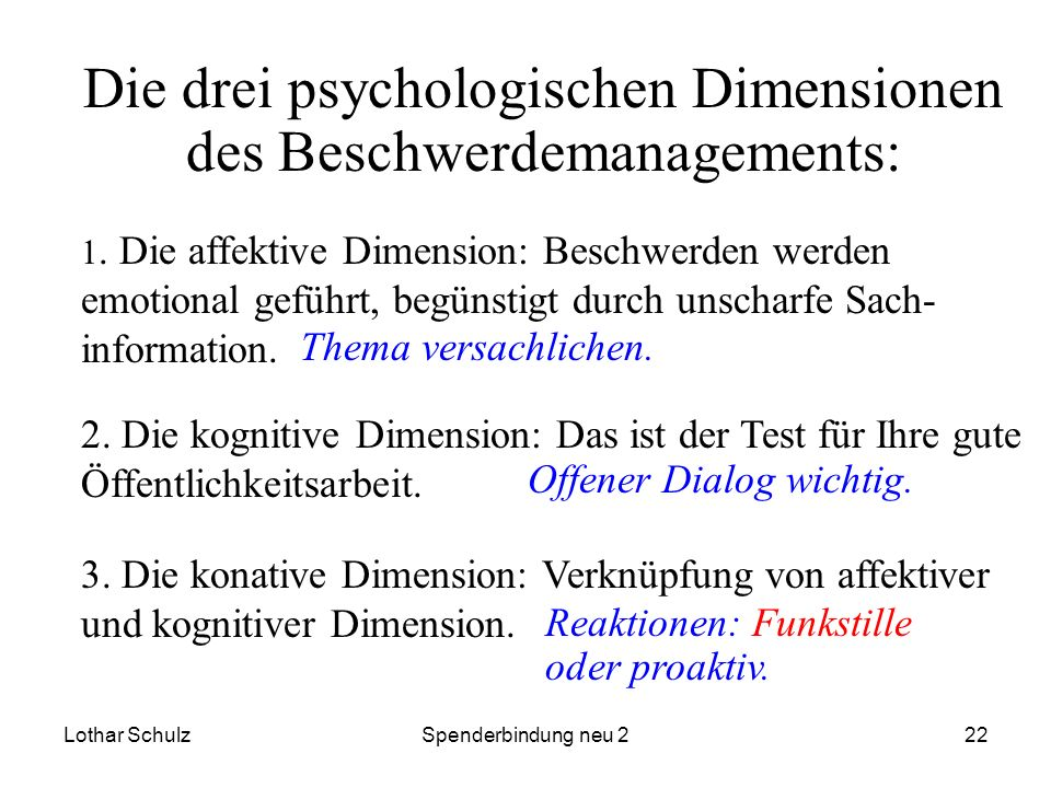 Die drei psychologischen Dimensionen des Beschwerdemanagements: