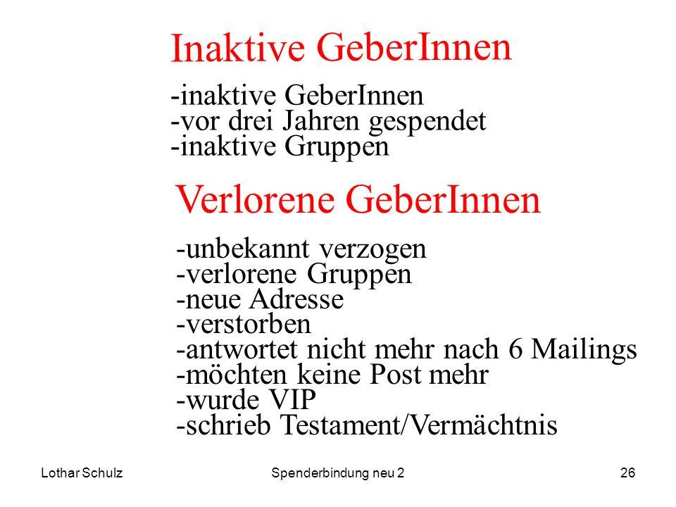 Inaktive GeberInnen Verlorene GeberInnen -inaktive GeberInnen