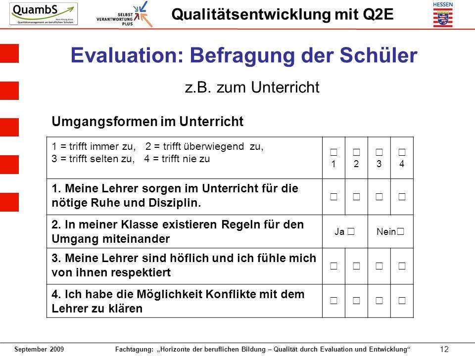 Evaluation: Befragung der Schüler