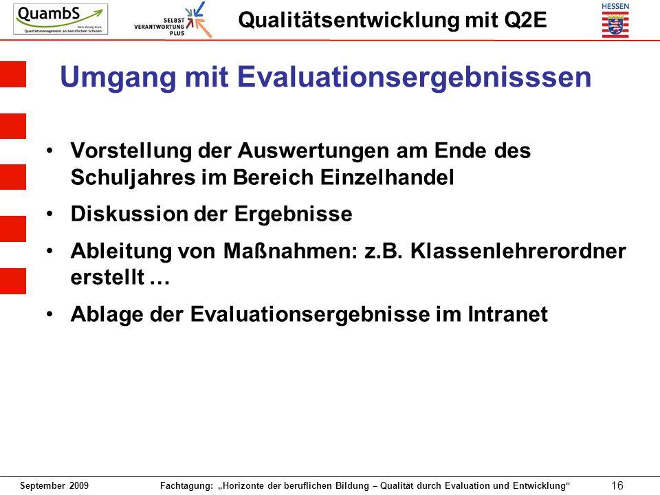 Umgang mit Evaluationsergebnisssen