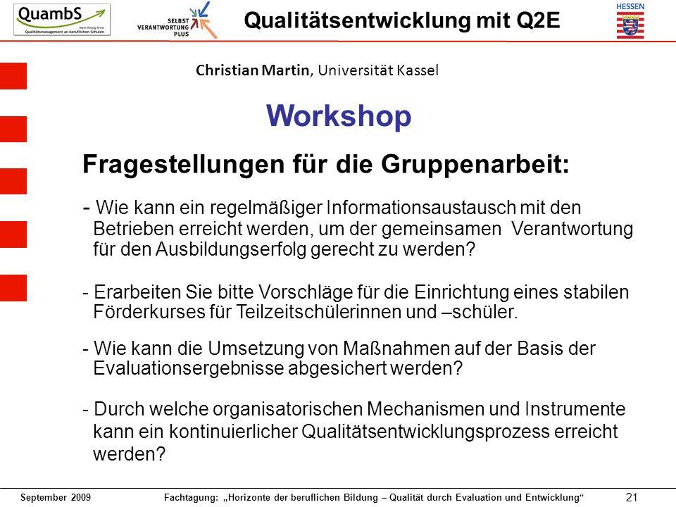 Workshop Fragestellungen für die Gruppenarbeit: