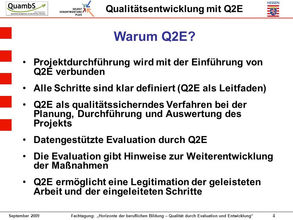 Warum Q2E Projektdurchführung wird mit der Einführung von Q2E verbunden. Alle Schritte sind klar definiert (Q2E als Leitfaden)