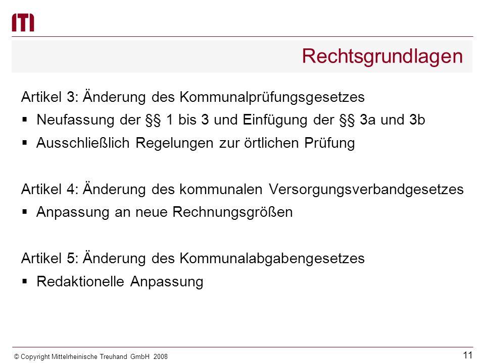 Rechtsgrundlagen Artikel 3: Änderung des Kommunalprüfungsgesetzes