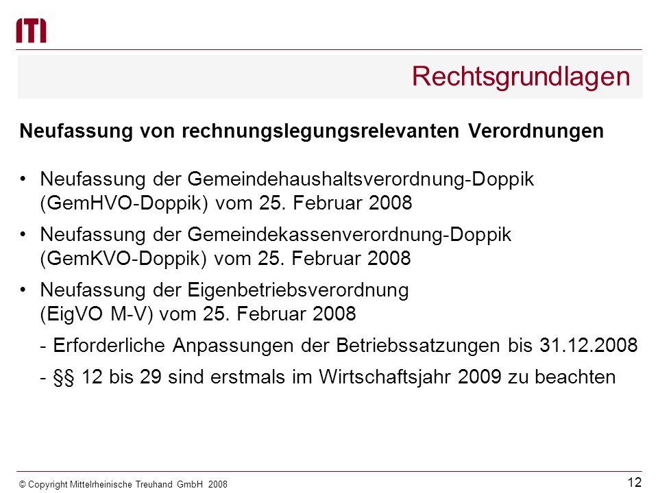 Rechtsgrundlagen Neufassung von rechnungslegungsrelevanten Verordnungen. Neufassung der Gemeindehaushaltsverordnung-Doppik.