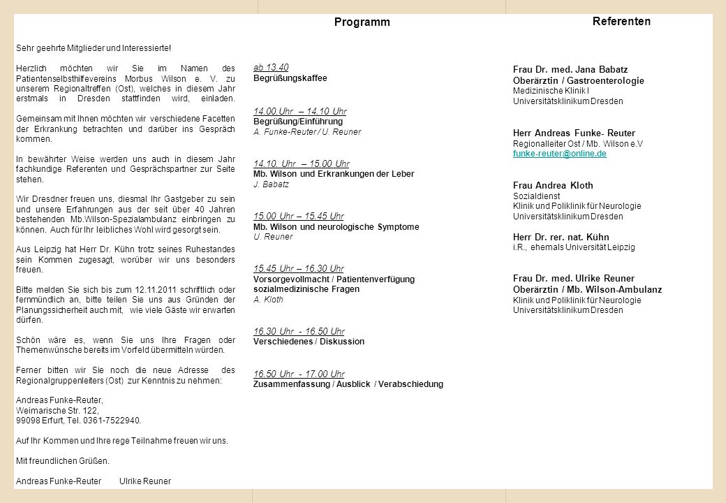 Referenten Programm ab 13.40 Frau Dr. med. Jana Babatz