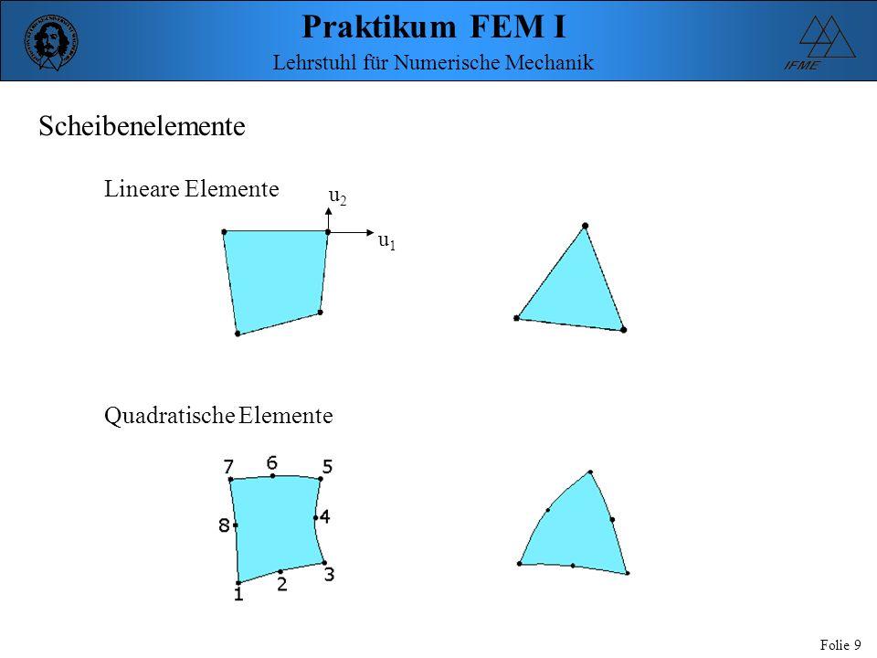 Scheibenelemente Lineare Elemente u2 u1 Quadratische Elemente