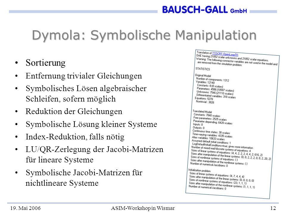 Dymola: Symbolische Manipulation