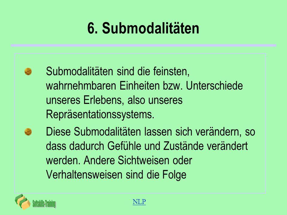 6. SubmodalitätenSubmodalitäten sind die feinsten, wahrnehmbaren Einheiten bzw. Unterschiede unseres Erlebens, also unseres Repräsentationssystems.