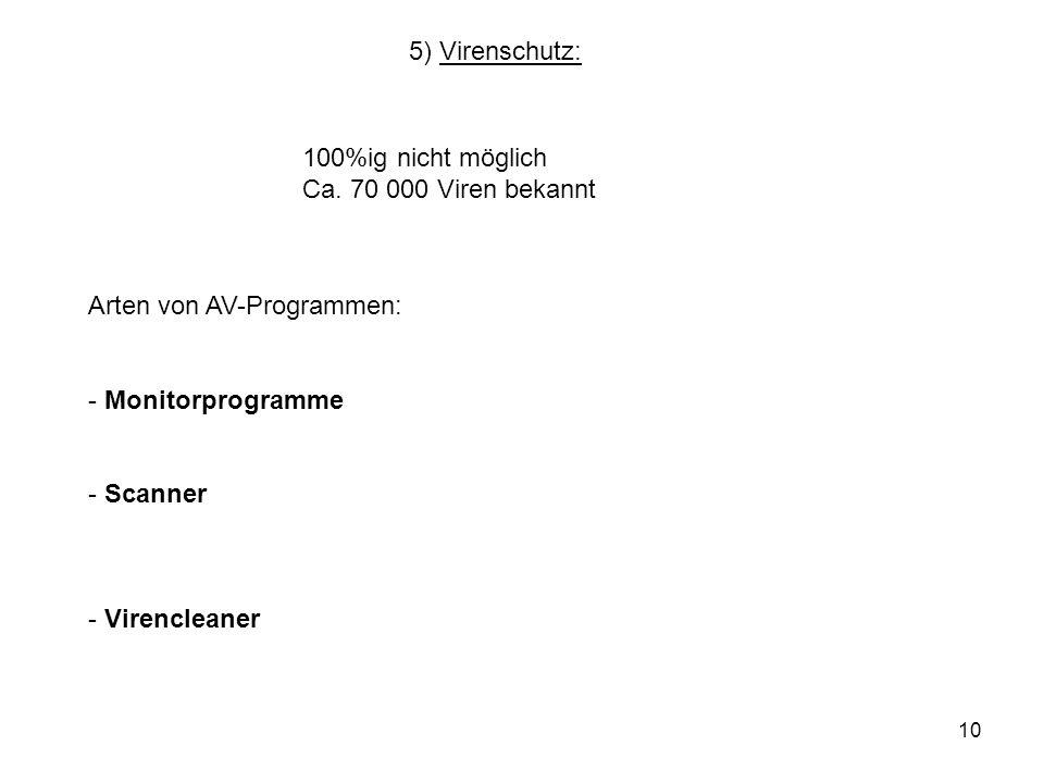 5) Virenschutz:100%ig nicht möglich. Ca. 70 000 Viren bekannt. Arten von AV-Programmen: Monitorprogramme.