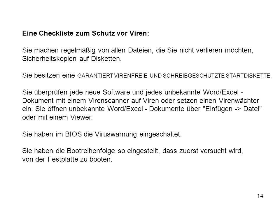 Eine Checkliste zum Schutz vor Viren:
