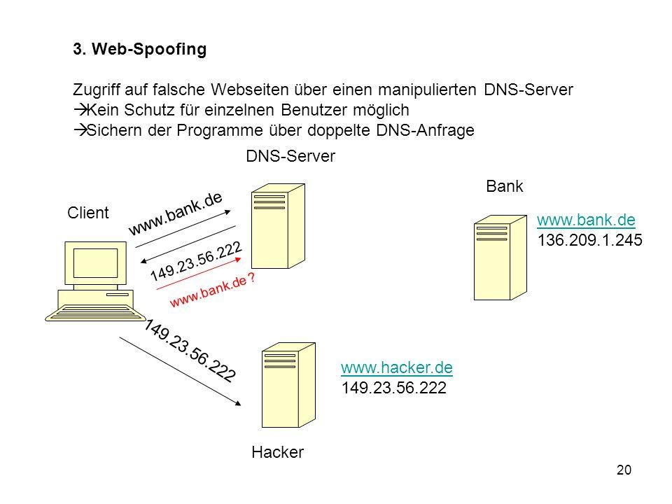 Zugriff auf falsche Webseiten über einen manipulierten DNS-Server