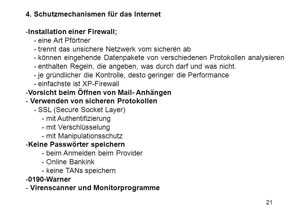 4. Schutzmechanismen für das Internet