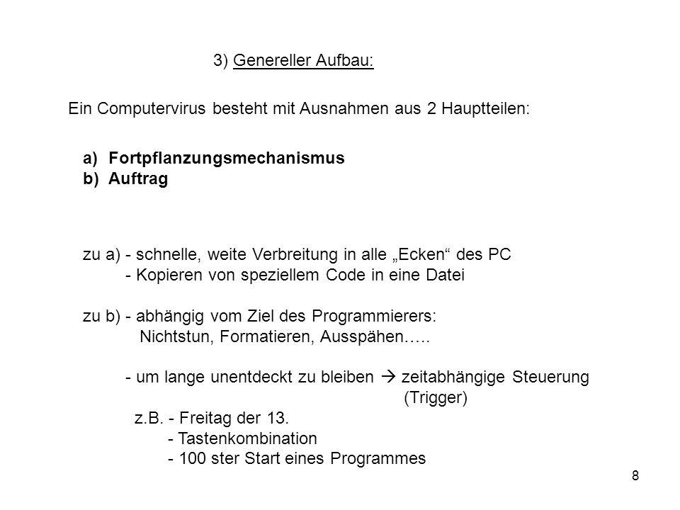 3) Genereller Aufbau:Ein Computervirus besteht mit Ausnahmen aus 2 Hauptteilen: Fortpflanzungsmechanismus.
