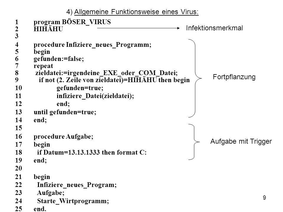 4) Allgemeine Funktionsweise eines Virus: