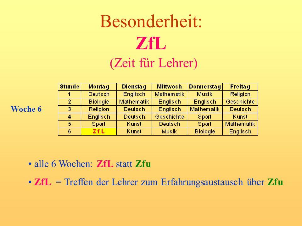 Besonderheit: ZfL (Zeit für Lehrer) alle 6 Wochen: ZfL statt Zfu