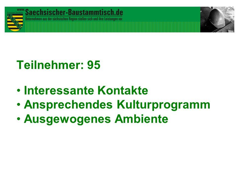 Teilnehmer: 95 Interessante Kontakte Ansprechendes Kulturprogramm Ausgewogenes Ambiente