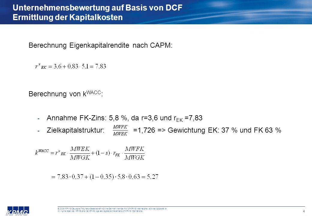 Unternehmensbewertung auf Basis von DCF Ermittlung der Kapitalkosten