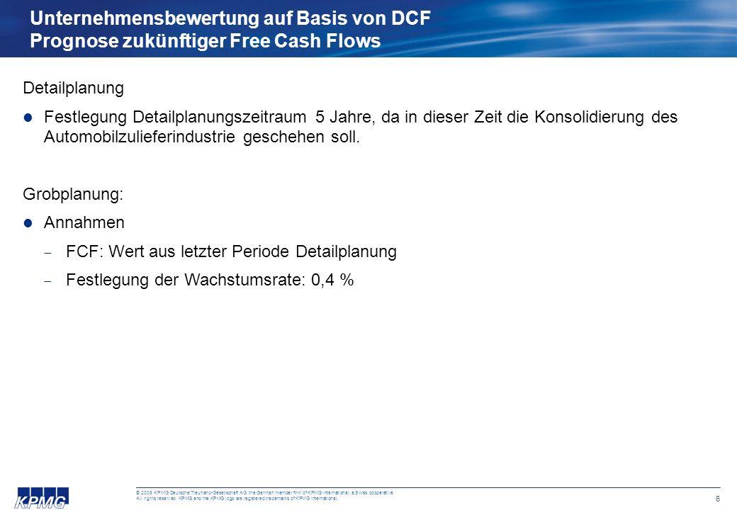 Unternehmensbewertung auf Basis von DCF Prognose zukünftiger Free Cash Flows