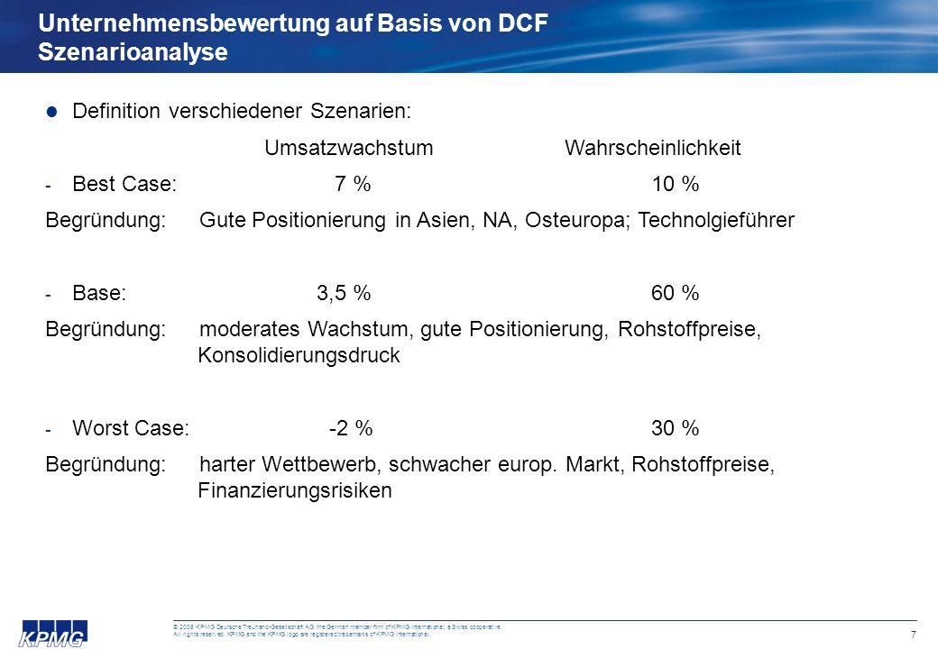 Unternehmensbewertung auf Basis von DCF Szenarioanalyse