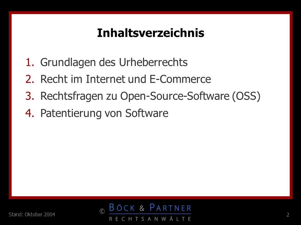 Inhaltsverzeichnis Grundlagen des Urheberrechts
