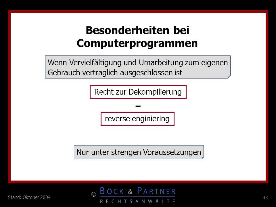 Besonderheiten bei Computerprogrammen