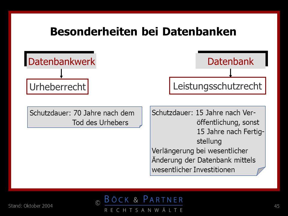 Besonderheiten bei Datenbanken