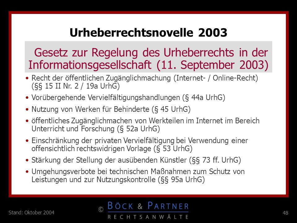 Urheberrechtsnovelle 2003