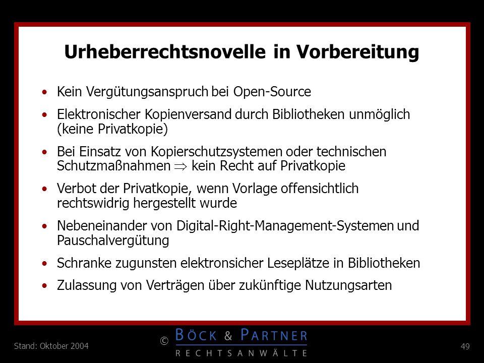 Urheberrechtsnovelle in Vorbereitung