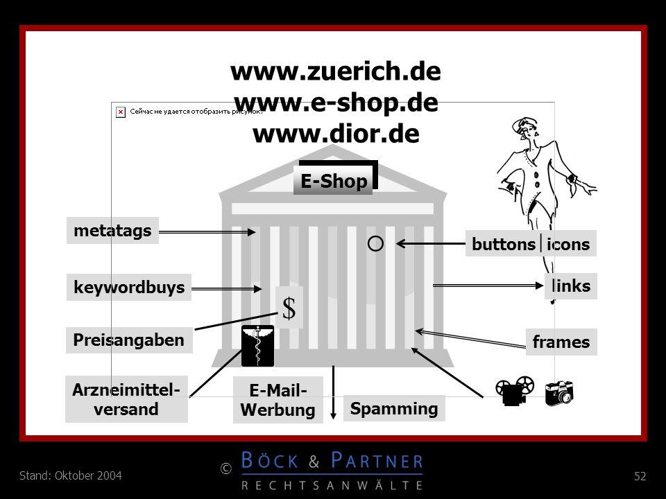  $ www.zuerich.de www.e-shop.de www.dior.de  E-Shop metatags