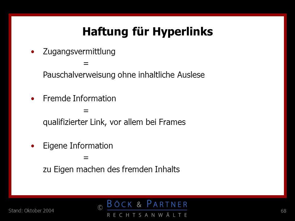 Haftung für Hyperlinks