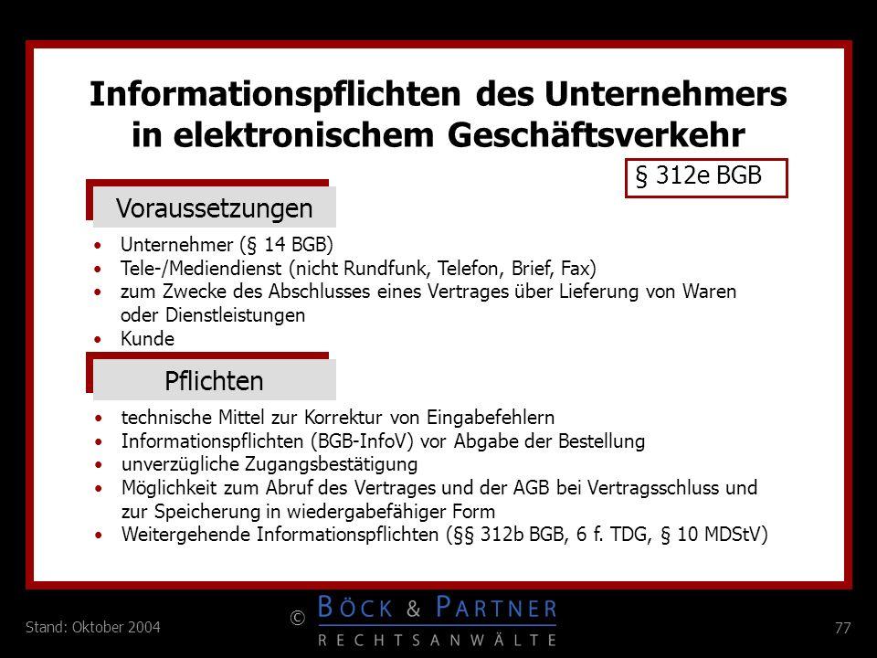 Informationspflichten des Unternehmers in elektronischem Geschäftsverkehr