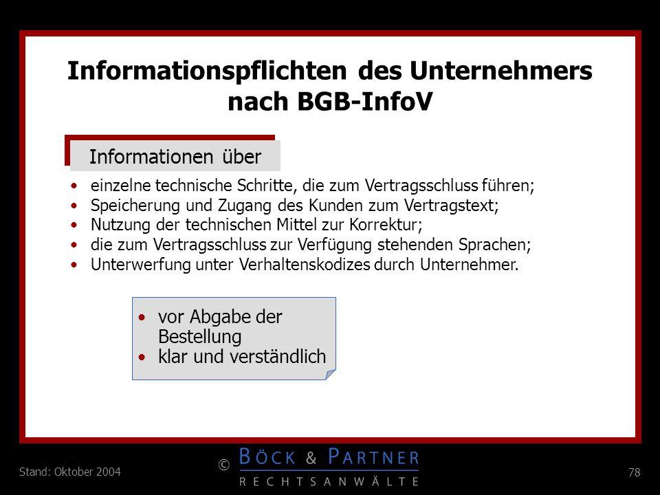 Informationspflichten des Unternehmers nach BGB-InfoV