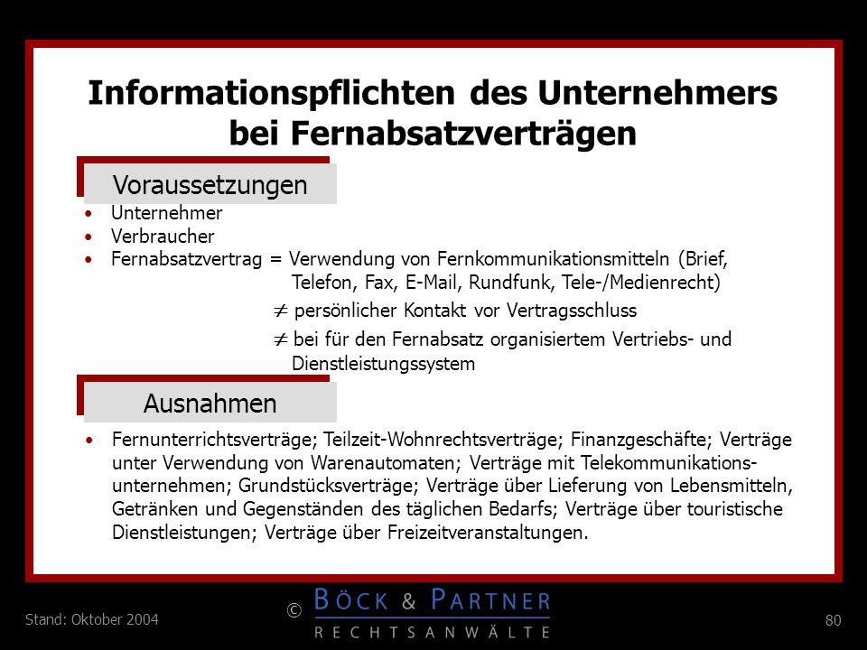 Informationspflichten des Unternehmers bei Fernabsatzverträgen