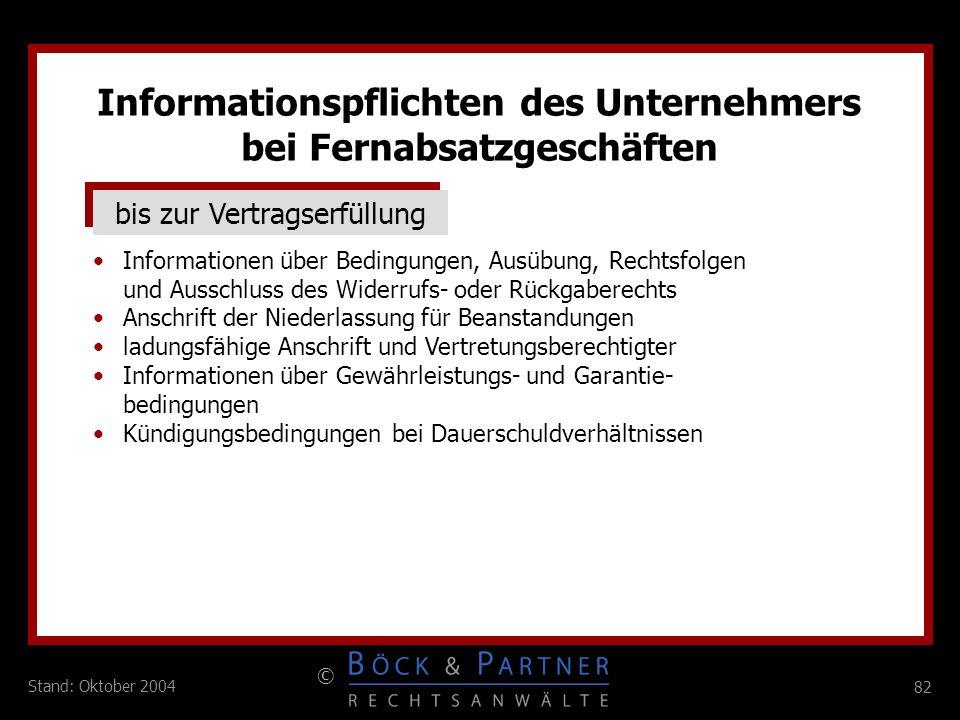 Informationspflichten des Unternehmers bei Fernabsatzgeschäften