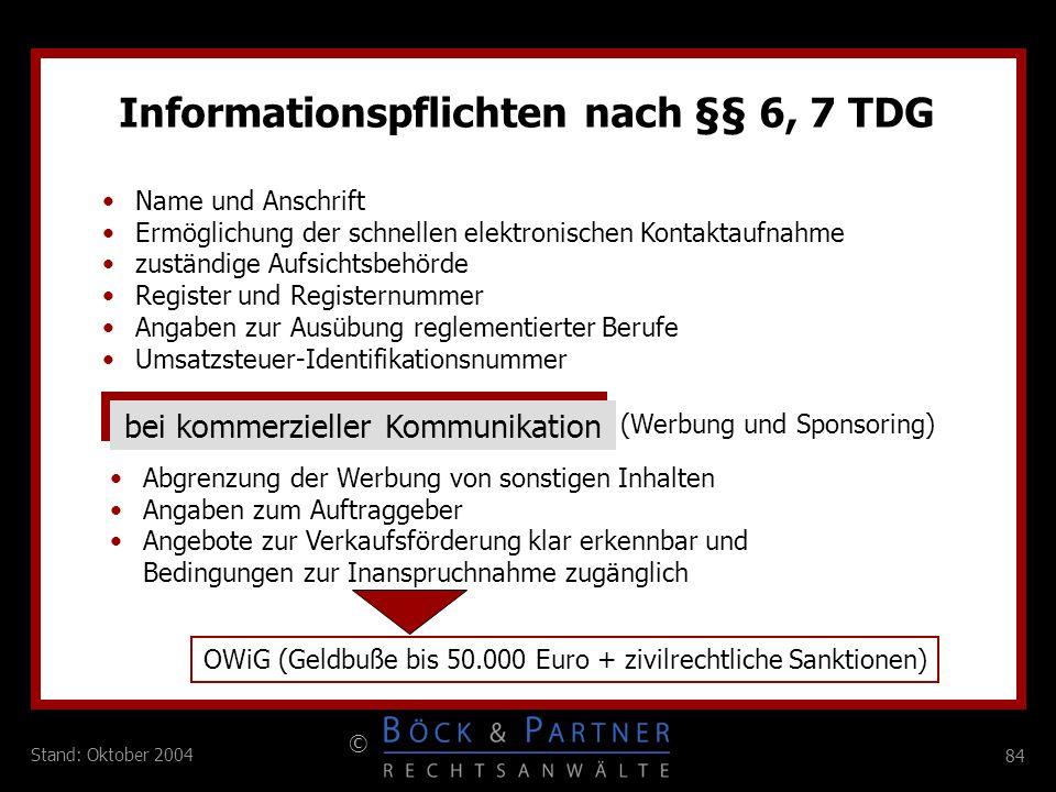 Informationspflichten nach §§ 6, 7 TDG