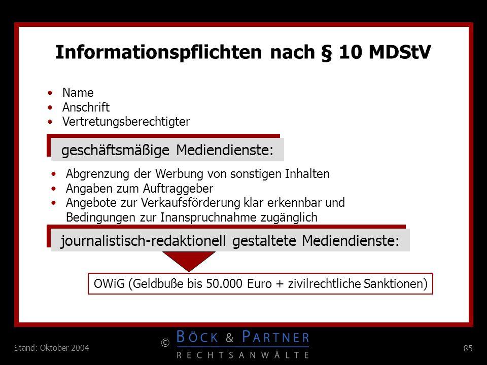 Informationspflichten nach § 10 MDStV