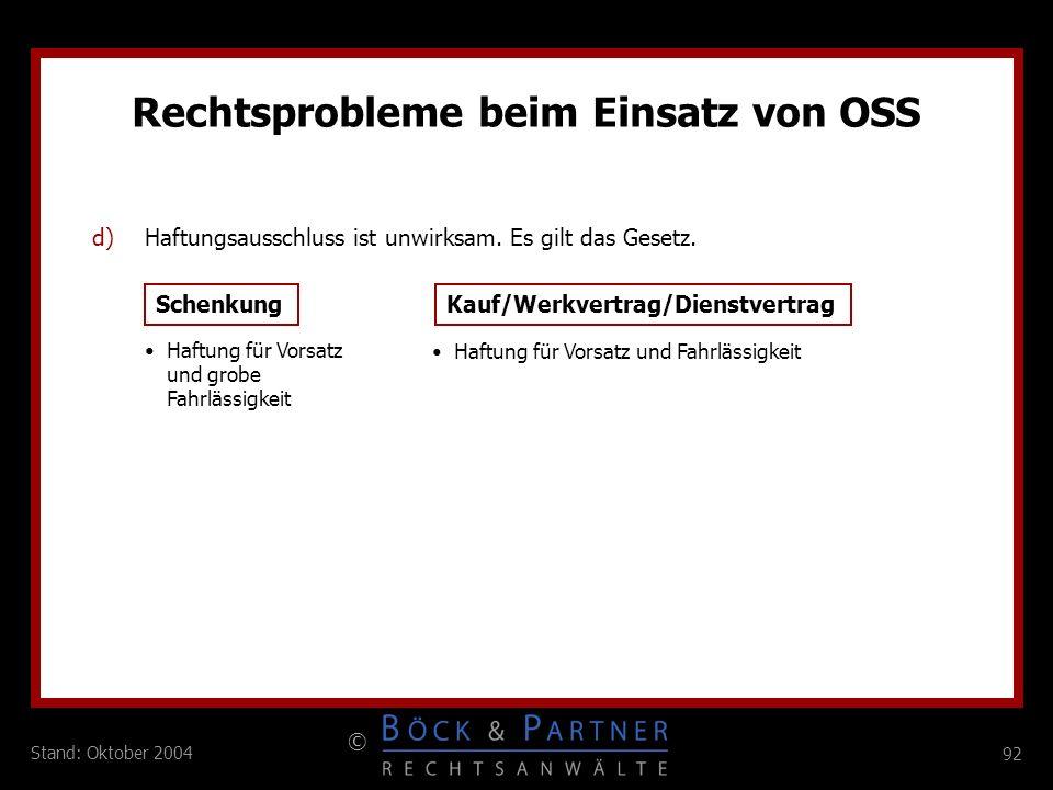 Rechtsprobleme beim Einsatz von OSS