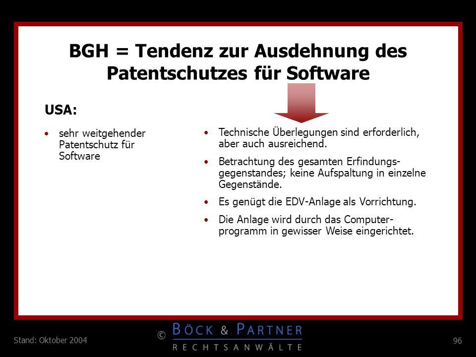 BGH = Tendenz zur Ausdehnung des Patentschutzes für Software