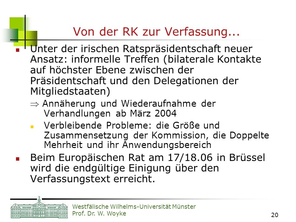 Von der RK zur Verfassung...