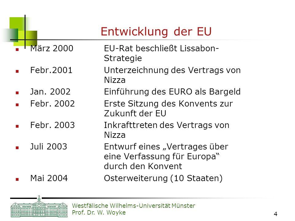 Entwicklung der EU März 2000 EU-Rat beschließt Lissabon- Strategie