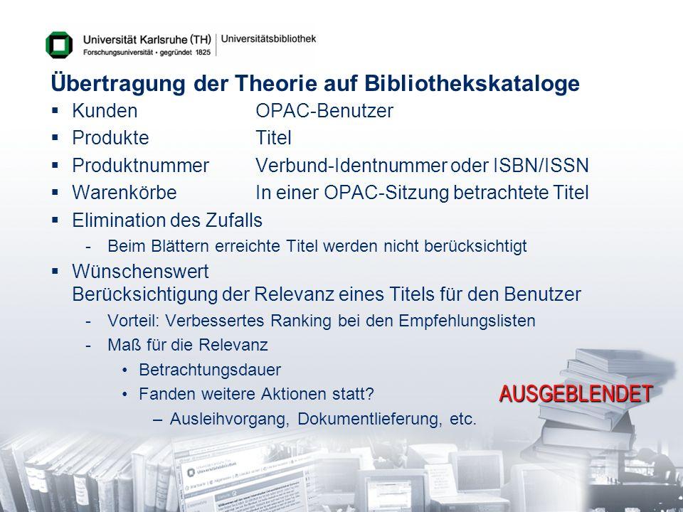 Übertragung der Theorie auf Bibliothekskataloge
