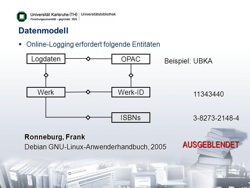 Datenmodell AUSGEBLENDET Online-Logging erfordert folgende Entitäten