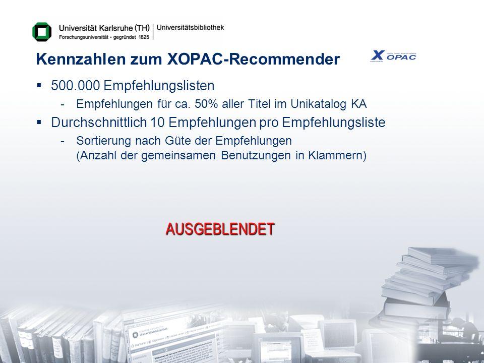 Kennzahlen zum XOPAC-Recommender