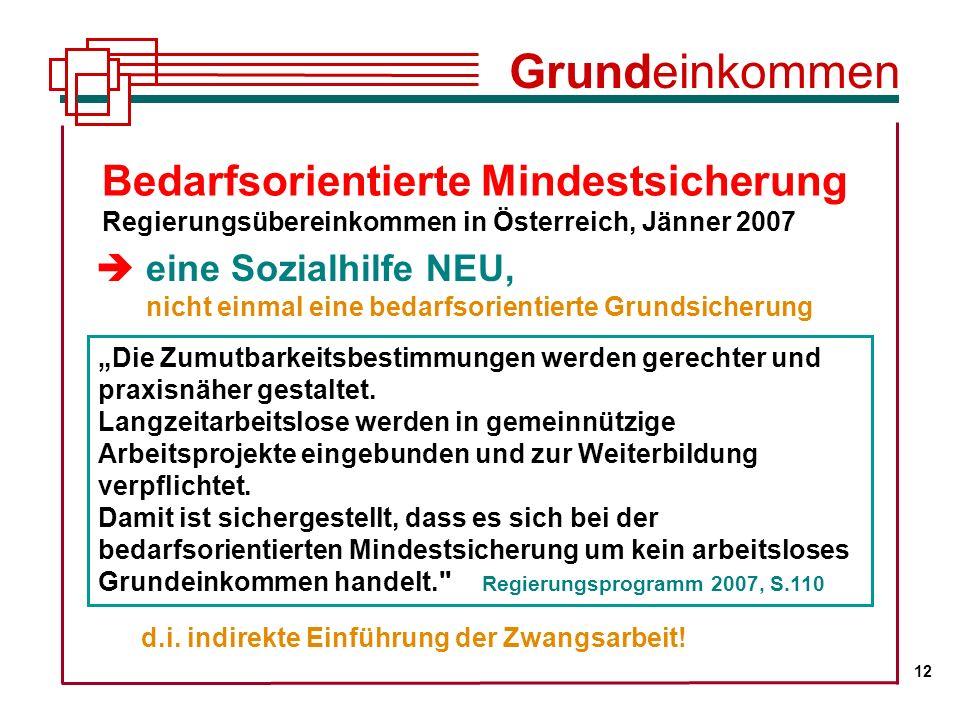 Grundeinkommen 12. Bedarfsorientierte Mindestsicherung Regierungsübereinkommen in Österreich, Jänner 2007.