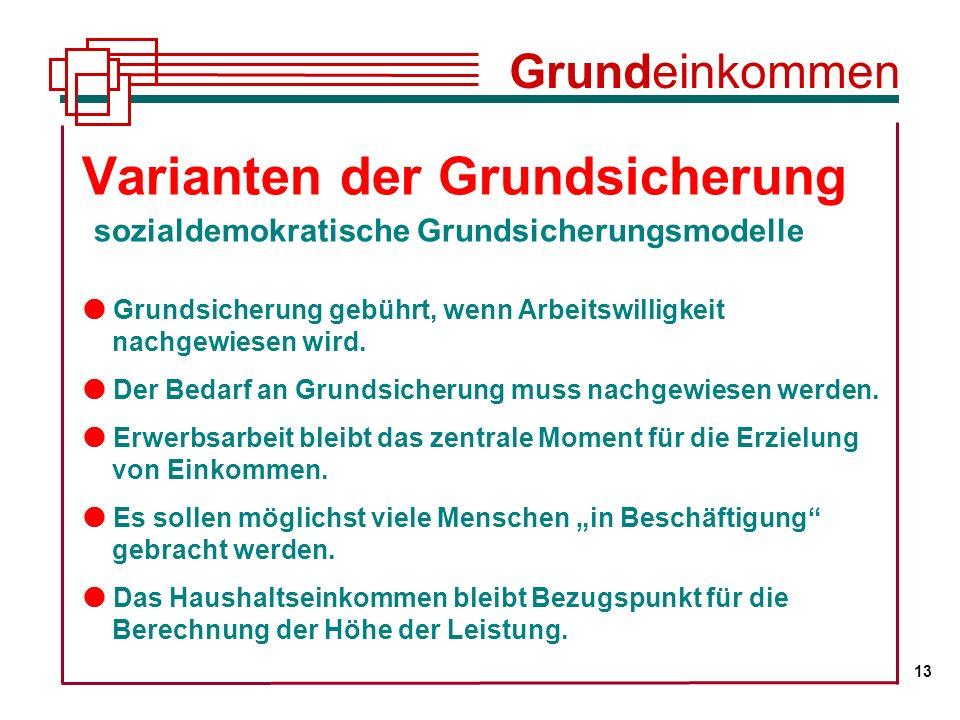 Grundeinkommen 13. Varianten der Grundsicherung sozialdemokratische Grundsicherungsmodelle.
