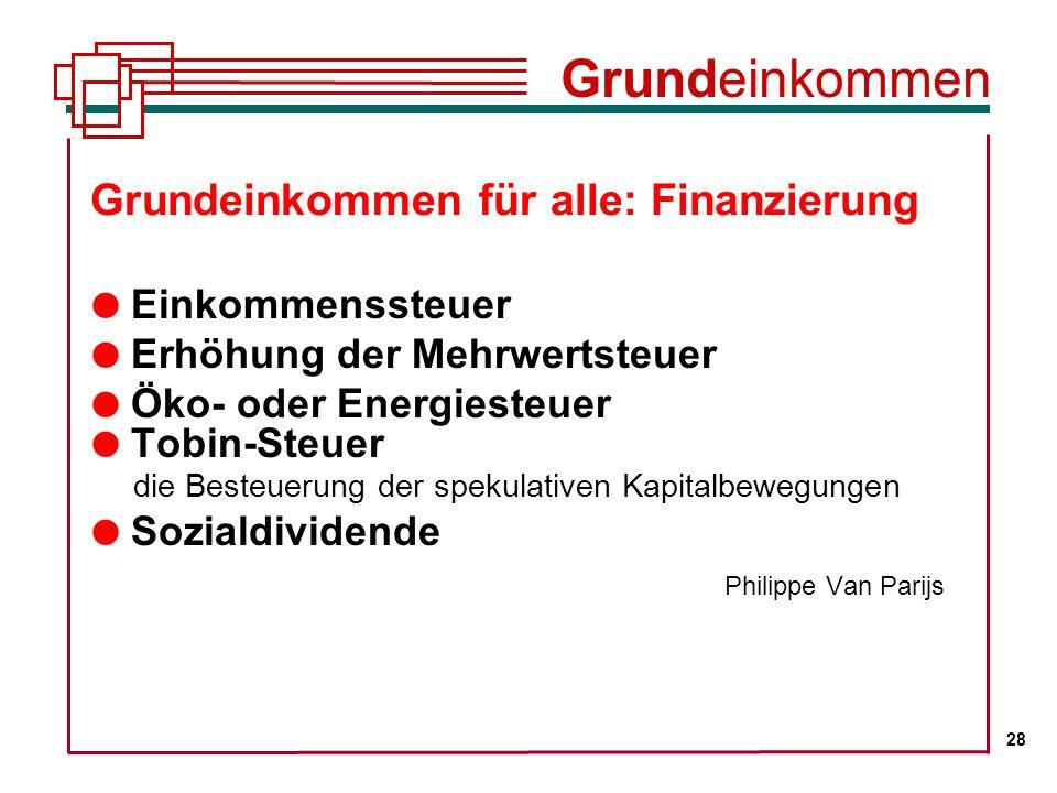 Grundeinkommen für alle: Finanzierung