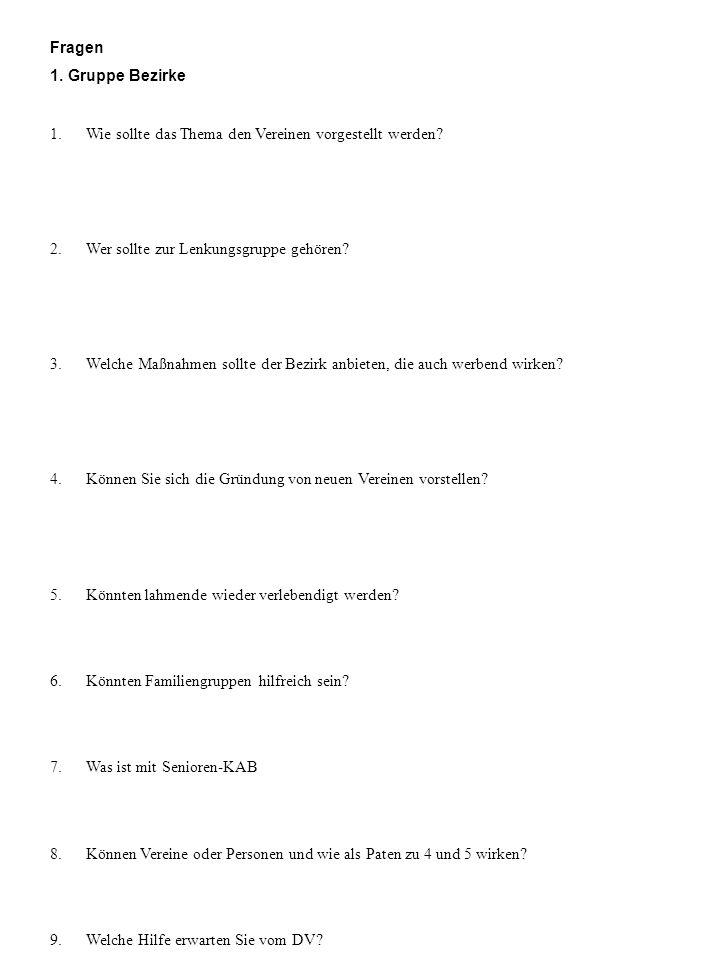 Fragen 1. Gruppe Bezirke. 1. Wie sollte das Thema den Vereinen vorgestellt werden 2. Wer sollte zur Lenkungsgruppe gehören